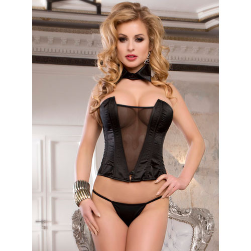 Deep V Lace up Corset with Panties and Necktie