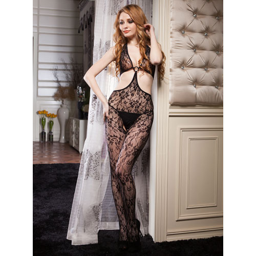 Lace Cut Out Bodystocking