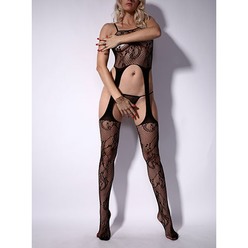 HighWaist Lace Chemise and Suspender Bodystocking