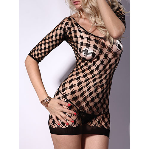 Chequered Long Sleeve Mini Dress