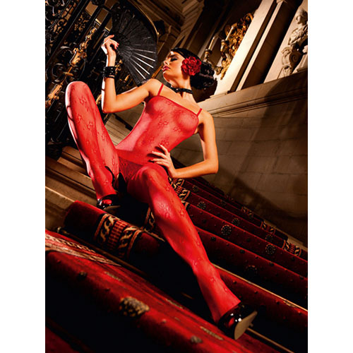 Baci Red Flower Lace Bodystocking