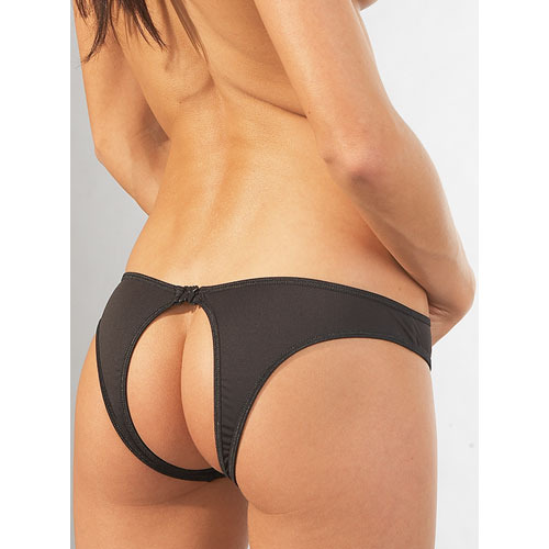 Black Crotchless Clasp Brief