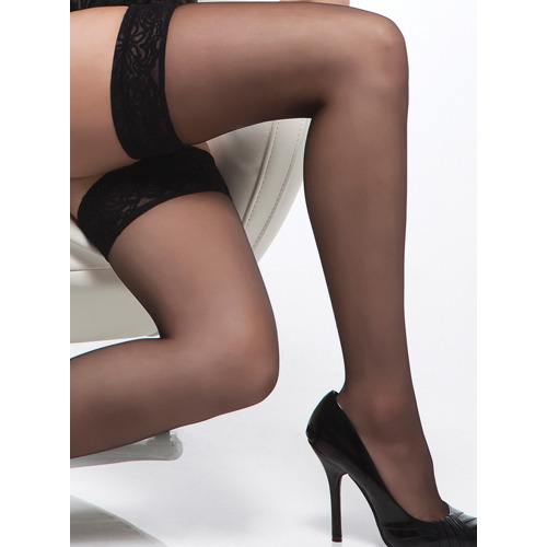 Coquette Black Sheer Stockings With Lace Top