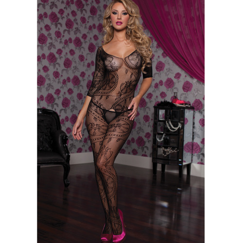 Seven Til Midnight Swirl Of Floral Lace Bodystocking