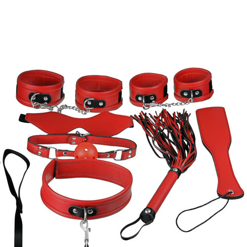 Super Soft Luxury Faux Leather 7 Piece Bondage Set In Red