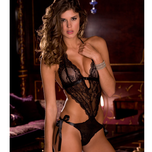 Rene Rofe Backless Lace Teddy