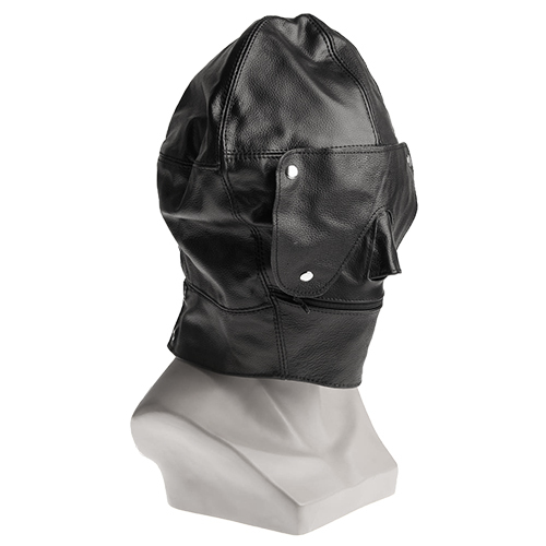 Black Leather Bondage Hood and Blindfold - Bondara
